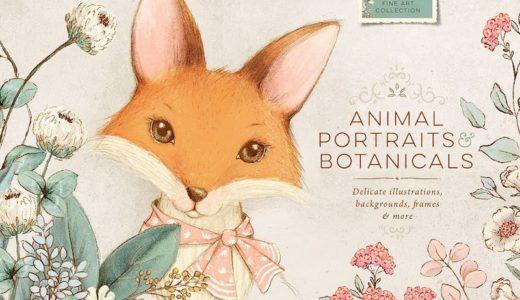 【期間限定】Lisa Glanzのヴィンテージ風の動物の肖像画と植物のイラスト素材、通常$22が32%オフで$15なのは #ナイショ。【商用化】